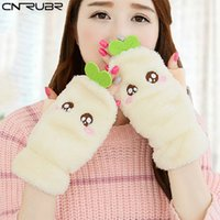 Wholesale Korean Half Finger Gloves - Wholesale- CNRUBR Woman Winter Plush Glove Novelty Soft Lady's Half Full Gloves Korean Cute Thick Velvet Warm Half-Finger Character Gloves