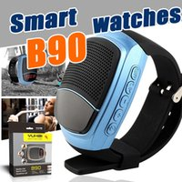 Wholesale Smart Phone Speakers - B90 Bluetooth Speaker Smart Watch Smartwatch SIM Cell Phone Watches Selfie Photo Multi-function Smartwatch Wrisbrand with Package