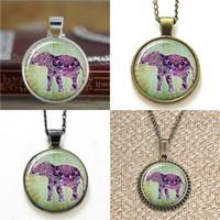 Wholesale purple elephant necklace for sale - Group buy 10pcs Lucky Elephant Boho Jewelry Purple Henna Bohemian Art Necklace keyring bookmark cufflink earring bracelet