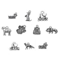 Wholesale Antique Fox Pendant - Antique Silver Plated Sheep Fox Dog Cat Animals Charm Pendant Fit For Bracelet Making Diy Jewelry For Gifts