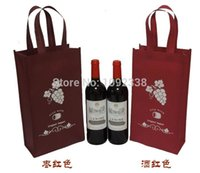 Wholesale Promotional Shopping Bags Logo - Wholesale- Wholesale reusable non woven shopping bags promotional wine bottle bags with customized logo 1000pcs lot Free Shipping By Fedex