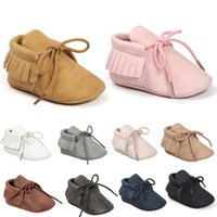 Wholesale Toddler Moccs - Baby Moccs Moccasins shoe Baby First Walkers Lace-up tassels soft Nubuck Leather toddler Harper quality 2017