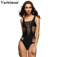 Wholesale Swimwear For Women Rose - Wholesale- Varleinsar 2017 Black Red Rose Sexy hollow out one piece swimwear Female swimsuit bathing suit for women swim wear beach V167