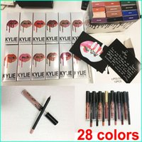 Wholesale Lip Lines - Latest Kylie lip kit line Kylie Lipliner pencil Velvetine Liquid Matte Lipstick Lip Gloss Make Up 28 colors