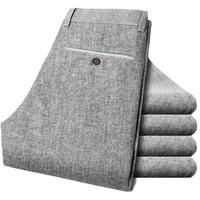 Wholesale Linen Fabric Trousers - Wholesale- Free shipping men linen fabric quality long pants size 28-38 summer dress men's trousers 58