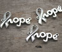 12pcs - encantos da esperança, prata tibetana antiga Cancer Ribbon hope Charm Connectors 38x23mm