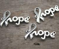 Wholesale Wholesale Hope Ribbon Charms - 12pcs--Hope charms, Antique Tibetan silver Cancer Ribbon hope Charm Connectors 38x23mm