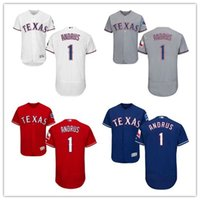 Wholesale Andrus Jersey - 2017 New Elvis Andrus Jersey 1 Men's Stitched Texas Rangers Flex Base Baseball Jerseys Cheap Mix Order Size S-4XL