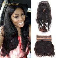 Wholesale Cheap Human Lace Front Closure - Remy Brazilian Human Hair Lace Closure Frontal Body Wave 1B 360 Unprocessed Virgin Lace Front Piece Cheap Queenlike 9A Diamond Grade