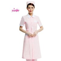 Wholesale White Nursing Uniforms Dresses - medicl Doctor white long-sleeved dress nurse short sleeved uniform experiment under drugstore beauty salon overalls 044