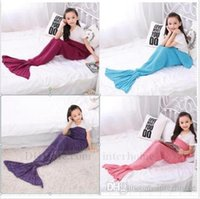 Wholesale Condition Yellow - Kids Mermaid Tail Blankets Handmade Crocheted Blankets Air-Condition Sofa Blankets Mermaid Tail Sleeping Bags Super Soft Nap Blanket B732 10