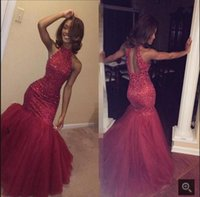 Long Mermaid Prom Kleider abendkleider 2017 Halter backless Perlen Red African Fishtail Navy Blue neuesten Abendkleid Designs Graduierung