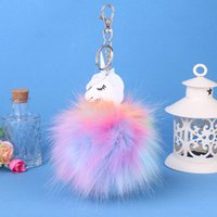 Новый 2017 Anime Horse Keychain Cute Unicorn Key Chain Pendant Women Car Styling Пушистый мех Pompom Keyring Bag Hang Trinkets
