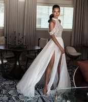 Wholesale chiffon halter wedding dress slit online - 2017 Sexy Chiffon Wedding Dresses Halter Backless Bridal Gowns Sweep Train With Beaded Front Split for Plus Size Wedding Dresses DTJ