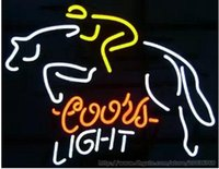 Wholesale Coors Beer Advertising - Coors Light Horse Rider Neon Sign Beer Bar KTV Club Pub Handmade Custom Real Glass Tube Commercial Display Advertising Neon Signs 17''X14''