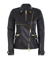Wholesale Leather Jacket Women Punk Rock - 2017 Hot Women European Double Layer Zipper Faux Leather Jacket Lady Motorcycle Biker Short Punk Rock Coat Outerwear