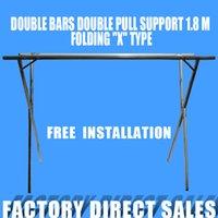 Wholesale Stainless Leg - Hanger folding stainless steel double rod X-shaped simple hanger for household items Stall1.8 m 2 frame