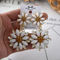Wholesale celebrity wedding gifts - New Fashion Celebrity Style Womens Daisy Long Dangle Statement Earrings Big Round Crystal Ear Drop Bride Wedding Jewelry Free Shipping