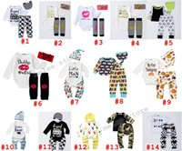 Wholesale Girls Pants Sequins - ins cotton baby girls boutique 3pc sets newborn sequin headbands gold letter romper shirt & infant tights pants shorts & childrens outfit
