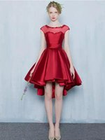 Wholesale short sleeve taffeta bridesmaid dresses resale online - Wedding Party Dresses New Arrival Burgundy Taffeta With Sheer New Capped Sleeve Asymmetric Prom Bridesmiad Gowns Short