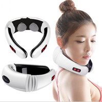 Wholesale Neck Therapy Instrument - Home Electric Pulse Back Neck Massager Vertebra Treatment Instrument Therapy Vibration Pillow Relax Massage Health Care Relaxtion Tool