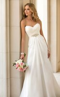 Wholesale Strapless Halter Dress - New Wedding Dresses Front A Line Deep V Neck Sheer Long Sleeves Chiffon White Bridal Gowns