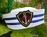 patches d'ancrage achat en gros de-Enfants Coton Marin Capitaine Chapeau Uniformes Costume Partie Cosplay Étape Effectuer Marine Cap Anchor Patch Marine Militaire Cap