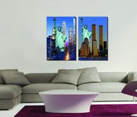 Peinture Sur Toile De Liberté Pas Cher-Spray Painting Wholesale 2pcs Image modulaire The Statue of Liberty The Sitting Room Modern Decorative Canvas Painting