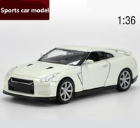 Wholesale Die Cast Toys - 1:36 scale alloy pull back car toys die-casting metal collection models high simulation GT-R sports car models exquisite children's gifts