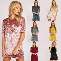 Wholesale Sexiest Satin Slips - 2017 New Arrival women fashion O-neck Short Sleeve Loose Mini Bodycon Ladies Sexy Dresses Casual Velvet Dress Satin Slip Glitter Flare Dress