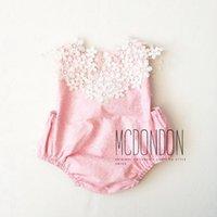 Wholesale Wholesale Korean Infant Clothes - Girls Crochet Lace Rompers Infant Kids Girls Princess Floral Jumpsuits 2017 Babies Summer Korean romper Children's clothing