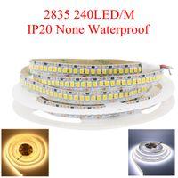 led-streifenbreite großhandel-12mm Breite 5m Einreihig 2835 1200 SMD LED Streifen 12V Flexibles 240 LED / m LED Band Weiß / Warmweiß