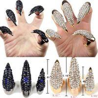 Wholesale Party Long Nails - Fashion punk Diamond cat demon claws sharp long finger nail women Talon finger rings cosplay nail art jewelry Y#185