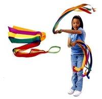 Wholesale Bamboo Reels - Wholesale- BOHS Rainbow Ribbon Children's Sports Rhythmic Gymnastics Exercises Cheerleading Fitness Toys 100cm