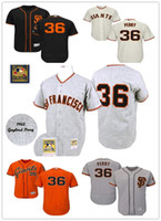 Wholesale Giant Shirts - Cooperstown 36 Gaylord Perry Jersey Flexbase SF San Francisco Giants Baseball Jerseys Vintage Cool Base Shirts White Grey Orange Cream Black