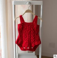 Wholesale Sweater Romper - Babies romper baby boys girls knitting suspender romper spring autumn new toddler kids sweater jumpsuits children all-match clothes T2835