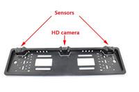 Wholesale Mirror License Plates - European License Plate Car Parking Sensor PZ600L Four Sensors Human Voice Bibi Sound Alarm TFT DVD Rearview Mirror Free DHL