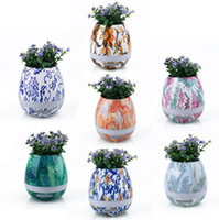 Wholesale Paint Flower Pots - Painting Music Flower Pot Colorful Smart Touch Sensor Bluetooth Flower Pot Music Player Speaker LED Light Lamp OOA2248