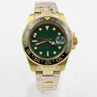 Wholesale Golden Mechanical Wrist Watch - Luxury Brand GMT Green Dial Golden Stainless Ceramic Bezel mens Whatch Sapphire Glass Men Watches Automatic Fashion Wrist Watches 116610