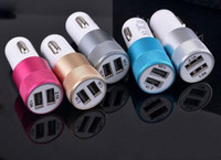 Wholesale Metal Dual USB Port Car Charger Universal Volt Amp for Apple iPhone iPad iPod Samsung Galaxy Motorola Droid Nokia Htc