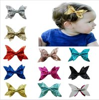 Wholesale Glitter Headbands For Women - 4 Inch Bling Hair Clip Sequined Big Bow Glitter Fabric Bow Knot Hair Clip for Girl and Women Hair Accessories Sequin Bow