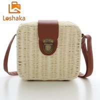 Wholesale Straw Bags New - Wholesale-Bohemian Women Beach Bags Rattan Design Shoulder Bag Straw weave Lock Crossbody Bag Handbags Herald Fashion New Arrivals