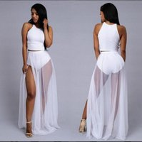 Wholesale Wholesale White Maxi Dresses - New hot Chiffon Women Dress Sexy Irregular Dresses Plus Size Fashion Dovetail Mixi Dress Round Neck Vest Beach Long Dress
