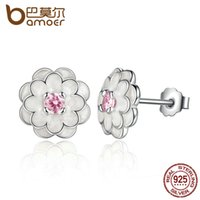 Wholesale Elegant Collections - BAMOER Spring Collection 925 Sterling Silver White Flower Elegant Stud Earrings Women Wedding Luxury Jewelry PAS462