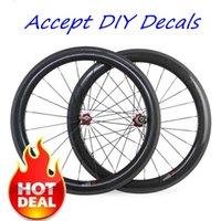 Wholesale Diy Carbon Road Bike - DIY Decals Accepted 700C 50mm Depth 23mm Width Carbon Bike Wheels Matt Finish 3K Weave Clincher Tubular With Powerway R36 Hubs