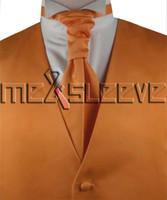 ingrosso legame ascot arancione-set di giubbotto classico arancione scuro di trasporto libero (gilet + cravatta ascot + gemelli + fazzoletto)