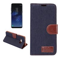 Wholesale Case Jean Iphone - For Samsung S8 Plus LG G6 Jean Cloth Leather Wallet Case For Iphone 7 6 6s Plus Huwawei P10 Plus Jean Folio Flip Cover With Card Slot OPPBAG