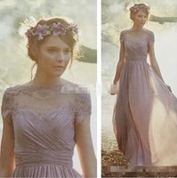 Wholesale Light Purple Lace - Cheap Vintage Bridesmaid Dresses with Short Sleeves Light Purple Chiffon A-Line Sheer Lace 2017 Evening Gowns Prom Maid of Honor Party Dress