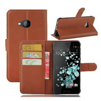 Para HTC U PLAY Litchi Wallet Leather + Soft TPU Phone Case Cover Card Slots Holder Pocket Pouch Flip Stand para HTC U Ultra SCA287