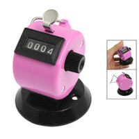 Wholesale Tally Counter Pink - Wholesale- FSLH-Golf Pitch 4 Digit Number Clicker Hand Held Tally Counter Black Pink